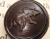Elephant button, leather button, vintage buttons, animal button, small button, ANIMAL CHARITY DONATION