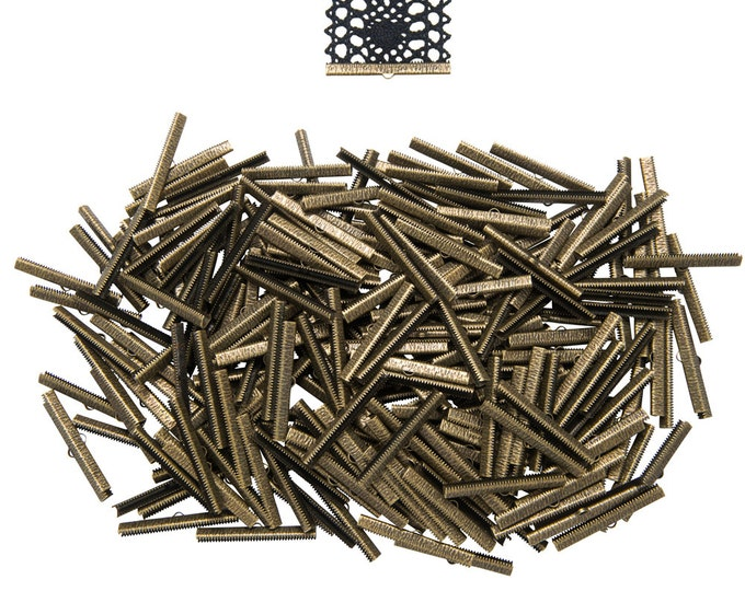 500 pieces  50mm  (2 inch) Antique Bronze Ribbon Clamp End Crimps - Artisan Series