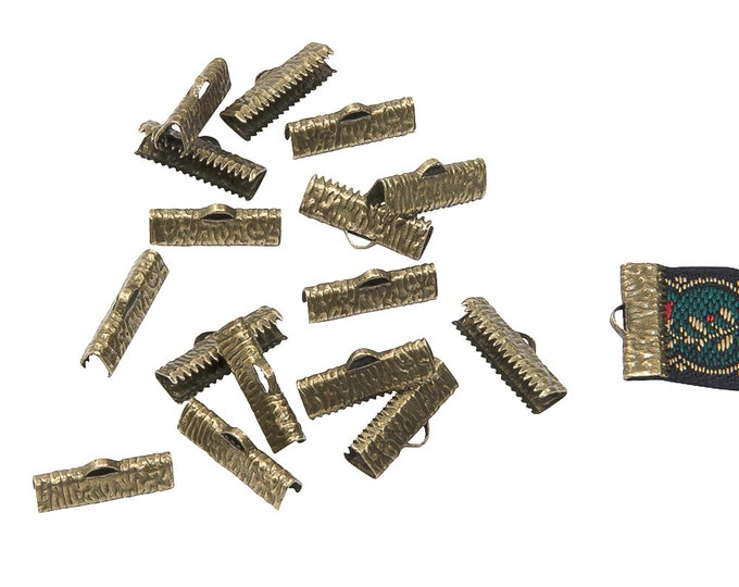 150 pcs. - 20mm or 3/4 inch Antique Bronze Ribbon Clamps - Artisan Series