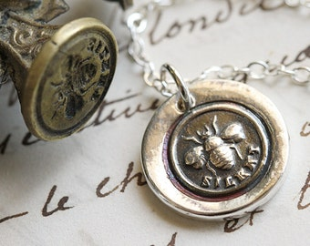 Bee Silent Victorian Wax Seal Necklace - Fine Silver, Sterling Silver
