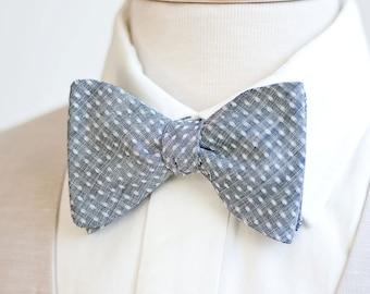 Bow Ties, Bow Tie, Bowties, Mens Bow Ties, Freestyle Bow Ties, Self-Tie Bow Ties, Ties, Plaid Bowties, Plaid Ties - Indigo Chambray Dot