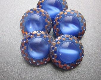 Vintage Blue Glass Buttons Gold Enamel Accents