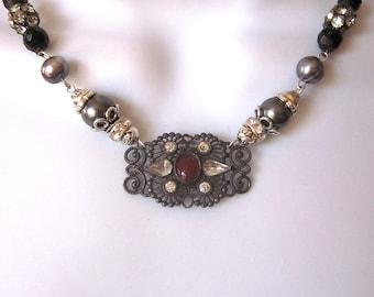 Vintage Assemblage Necklace Art Nouveau Repurposed Statement Necklace Black Jewelry OOAK