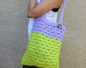 Crochet tote bag shoulder bag 100% cotton avoska handmade bag beach farmers market boho bohemian lime green purple Caribbean colors
