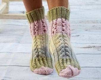 Knitted socks cottage quit socks lace cable knit bed socks neutral color cottage chic womens socks gift for her handmade girls socks
