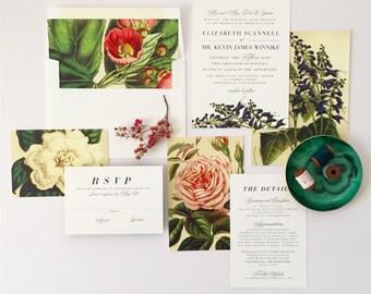 ELIZABETH SUITE // Botanical Wedding Invitation, Southern Wedding, Rustic, Plantation, Garden, Vintage, Classic, Blue Bells, Magnolia, Roses