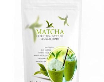 Culinary Matcha (16oz) - Organic, Kosher & Non-GMO Certified, Vegan and Gluten-Free.FREE 1-3 Day USA Shipping