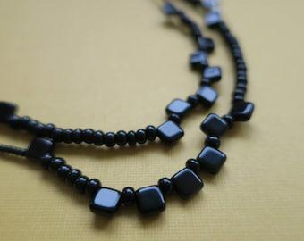 2 Stretch Necklets -  Black pebbles
