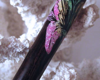 """The """"Petite Chloe"""" Star Gazer Lily Hair Stick Featuring African Blackwood inlaid with Lavender, Yellow, Green and Mint Green FWP's and MOP"""