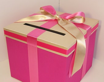 Wedding Card Box Hot Pink and Champagne Gift Card Box Money Box Holder--Customize your color(10x10x9)
