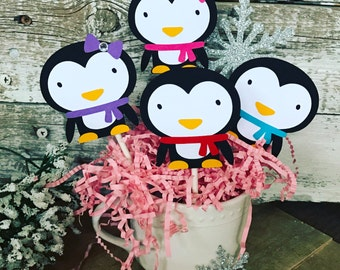 Penguin Cupcake Toppers - Set of 12 Penguin Toppers - Penguin Birthday Party Decoration - Winter Wonderland birthday - Penguin Winter Party