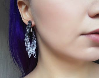 DRIZZLE - earrings, lilac with white and black statement earrings, handmade one of a kind statement jewelry