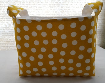 Fabric Organizer Storage Basket Bin Container - Yellow with White Polka Dots