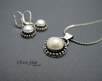 RESERVED for Yvonne - Pearl Necklace and Earring Set, Sterling Silver Freshwater Pearl Pendant and Earring Set