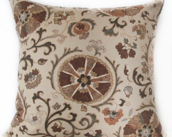 Pillow Cover - Brown - Suzani - Vines -  Accent Cushion Cover