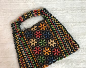 Vintage 60s 1960s Wood Beaded Clutch Small Purse - Vogue - Colorful - AS IS - Czechoslavakia