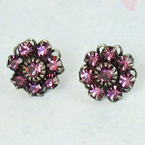 Purple Post Earrings  Amethyst Swarovski Crystal Flowers