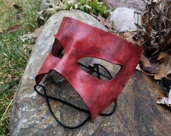 Red and Black Leather Masquerade Mask