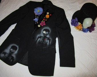 Day of the Dead mens tux jacket unique Halloween costume mens size 42 L Dia de los Muertos  sugar skull Mexican skeleton bone collector
