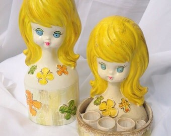 Vintage blonde yellow girl lipstick holder and bank. Vintage vanity hair stylist salon.