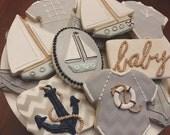 Premium Nautical Baby Shower Cookies - 2 Dozen