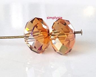 Swarovski Crystal Donut Rondelle Crystal Copper 12x8mm 2 Pcs Faceted Beads