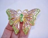 Emerald Green  Butterfly Vintage Jewelry Animal Brooch Rhinestones Gold Tone