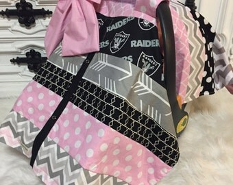 Raiders Car seat canopy / Comes with Bow / Raiders car seat cover / OOAK / Raiders / NFL / football
