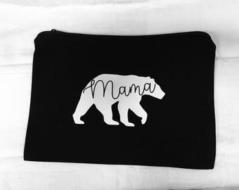 FREE SHIPPING Mama Bear makeup bag | Gift for her | natural cotton canvas bag | Purse | pouch | zippered pouch | baby shower | pregnant