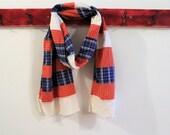 Upcycled Cotton Shirt Scarf,  Patchwork Wrap, Blue, Orange Cream, Pojagi scarf,  Boro Scarf