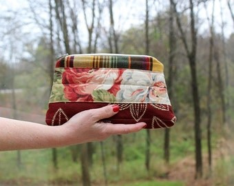 Scrap, Patch Zip Pouch with Hand strap, Autumn Leaves