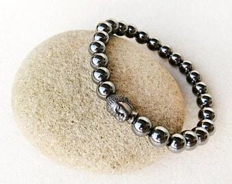 Men's Bracelet in Dark Gray Hematite, Mala Inspired, Grey, Black, Buddha, Yoga, Zen, Stretch, Handmade Classic Jewelry, Bracelet for Man