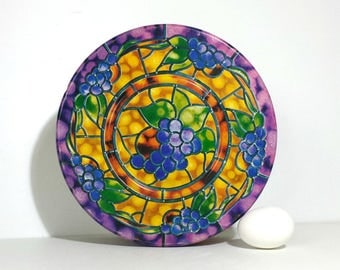 Vintage Stained Glass Fruit Round Metal Tin / Vintage Parco Cookie Tin / Vintage Tin Stained Glass Grapes