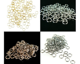 6mm gold or nickel plated, antiqued copper, or black oxide split ring/ key ring/ key chain ring, 500 pcs BULK. Great for charms, jewelry