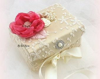 Ring Bearer Box, Ivory, Gold, Hot Pink, Pink, Petunia, Alternative Pillow, Jewelry Box, Wedding, Pearls, Lace Ring Box, Vintage Wedding