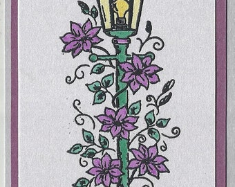 Lamp Post of Violet Beauty-Choice of Tags or Thank You Cards