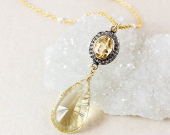 CHRISTMAS SALE Gold Citrine Teardrop Layering Necklace – Pave Diamond – Freshwater Pearl Chain