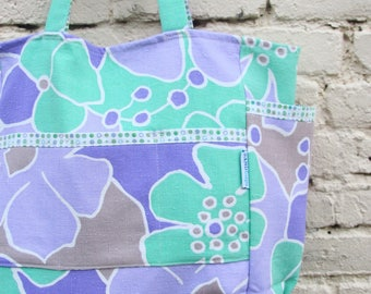 Lovely Lavendar Linen Weekender - Modern Mint and Purple Florals Travel / Diaper Bag - Eco Friendly Fashion - Under 50 Mom / Sis / Grad Gift