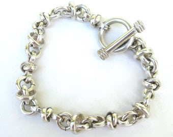 vintage heavy link bracelet   ...  heavy solid sterling silver chain bracelet
