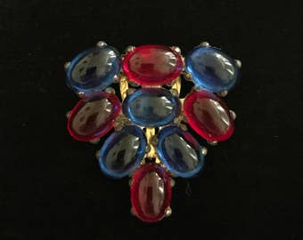 Gorgeous Antique Art Deco Czech Ruby & Sapphire Glass Dress Clip