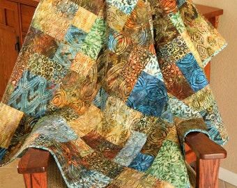 Batik Quilt in Blues and Browns, Batik Lap Quilt, Quilted Sofa Throw, Bakari Batiks, Quilt Gift for Him or Her, Quiltsy Handmade