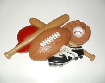 Vintage 1992 Wall Hanging Football - Baseball Sign, decorative, display, collectibles, art, craft, sports, baseball