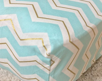 Mint and Gold Chevron Crib Sheet, Cotton Crib Sheet, Fitted Crib Sheet, Sheet for Baby, Crib Sheet for Baby Boy or Girl, Standard Crib Sheet