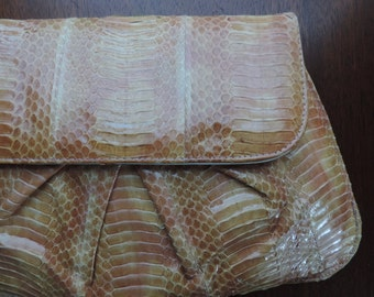 j. renee tan snakeskin purse 80s luxe envelope handbag clutch