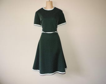 60s green mod dress hunter and white polka dot and dash textured a-line dress large