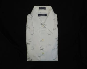 men's vintage dress shirt 1970s Damon gray horse print novelty equestrian button down 16 1/2 new old stock