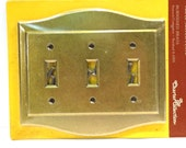 NOS Amerock Charter Collection Triple Switch Plate Vintage 1970s 1980s Burnished Brass Switchplate Cover New Old Stock Industrial Salvage