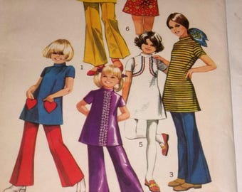 Girls Mini-Dress and Bell Bottom Pants Sewing Pattern / Size 10 / UNCUT