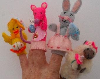 Felt Finger puppets,Easter puppets, 3D Finger puppets,easter chick,easter bunny, easter lamb, easter mouse, Waldorf, play school, pre school