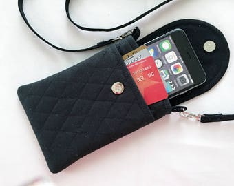Iphone 6 Plus Smart Phone Gadget Case Detachable Neck Strap Quilted Cotton Black